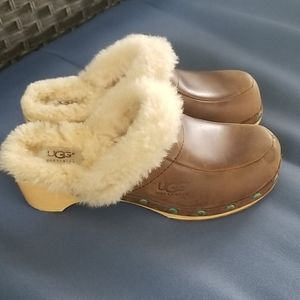 UGG Brown Leather Clogs, Size 7